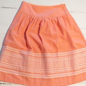 Peach Embroidered Full Gathered Skirt